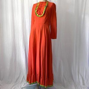 Vintage 60's / 70's Long Sleeve Maxi Dress